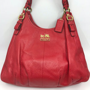COACH Red Faux Leather Edie Shoulder Bag